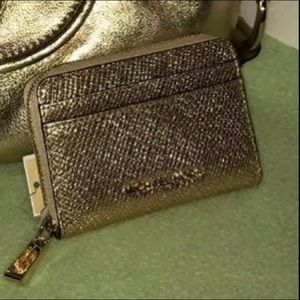 Michael Kors Gold Leather Card Case NWT